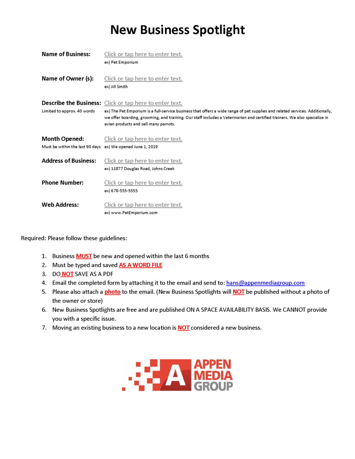 New Business Spotlight form
