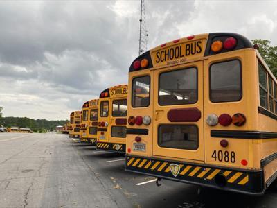 Row of Fulton County School buses
