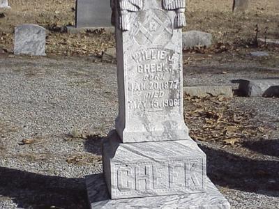 William J Cheek's grave marker