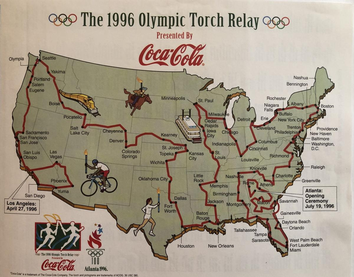 1996 Olympic relay map