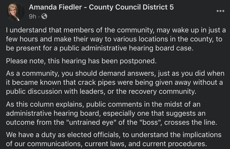 Amanda Fiedler Says County Council Will Be Asking County Health Officer About Program In May Hearing