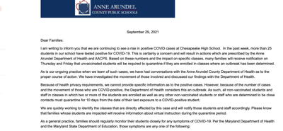 Letter Sent To Chesapeake High School Families About Rise In Covid Cases