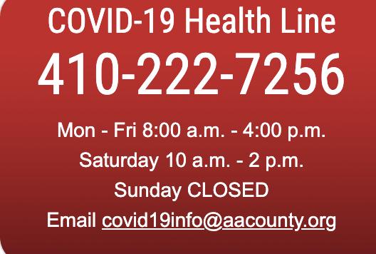 AA County Department of Health Hotline