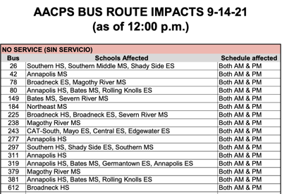 AACPS Bus Route Impacts As Of 12 PM 9/14