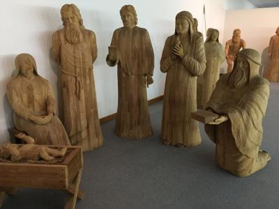 Woodcarving of Baby Jesus birth by Barta