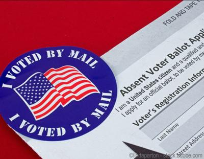 Absentee Voter, Vote by Mail Form, Application, Sticker