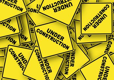 Road construction yellow signs