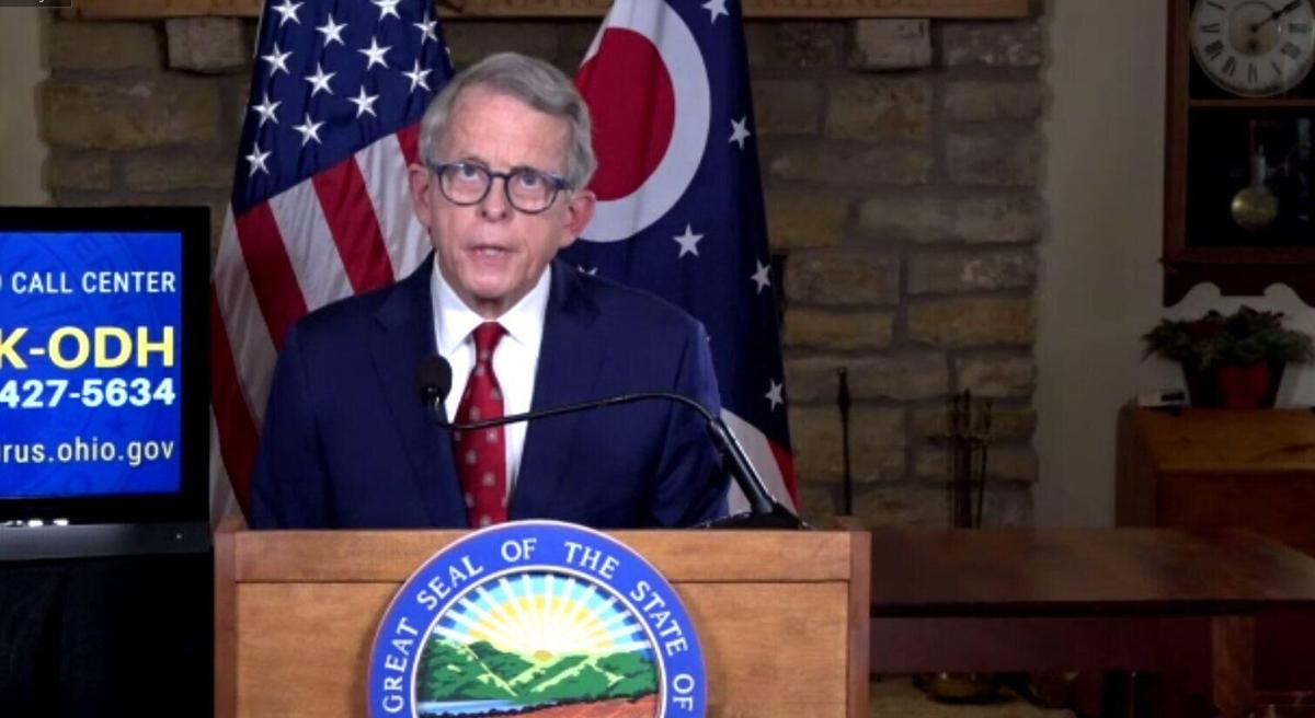 Ohio Gov. Mike DeWine speaks with media on Thursday afternoon.