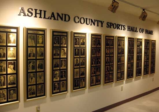 Ashland County Sports Hall of Fame plaque wall