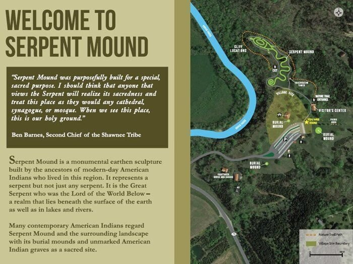 Welcome sign to Serpent Mound