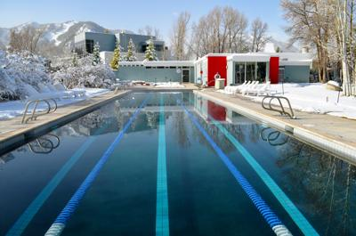 The swimming pool at the Herbert Bayer-designed Aspen Meadows