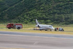 Plane skids off Sardy Field runway on landing