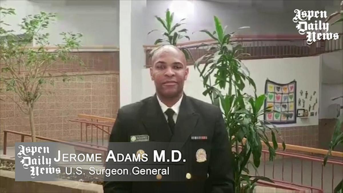 Surgeon General Jerome M. Adams answers questions at the Opioid Crisis Community Forum.