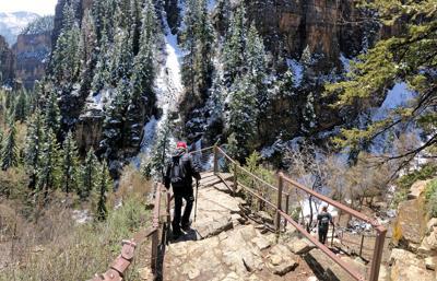 Hanging lake hikers