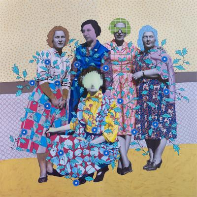 """Untitled (Five Patterned Women)"" by Daisy Patton"
