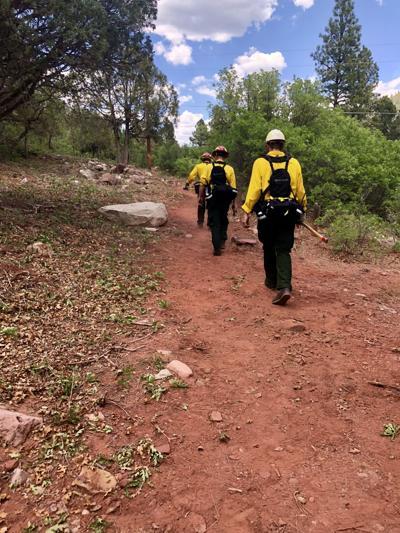 Aspen Firefighters Adrian Aguilar And Jacob Arywitz Wildland Intern Grant Duta Walk Along A Freshly Cut Fireline Near The 416 Fire Outside Of Durango On