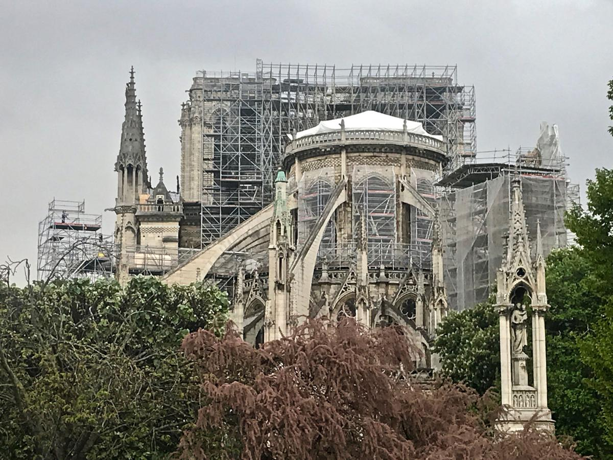 Notre Dame Reinforcement, Protection, Roof Cover 4-28-19