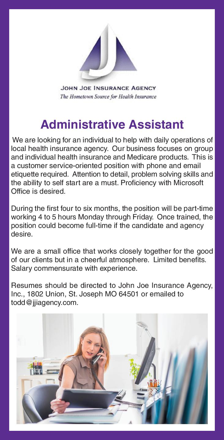 Administrative Assistant We are look