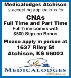 Medicalodges Atchison CNAs FT, PT