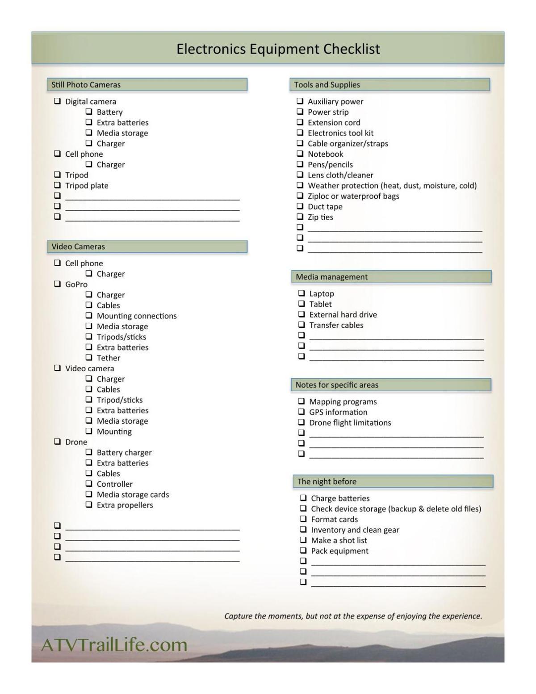 Electronic Equipment Checklist