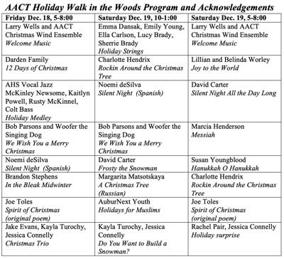 Holiday Walk in the Woods schedule