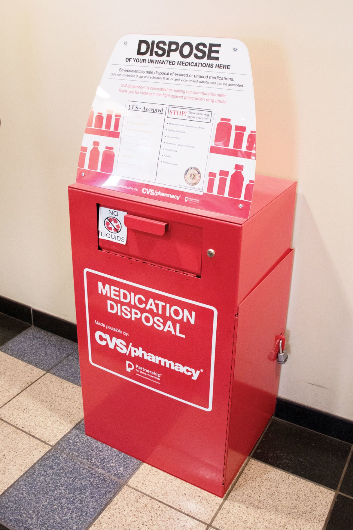 Drop-box for medications, drugs at the Lee County Sheriff's Office