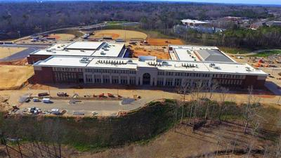 Aerial of the high school in March
