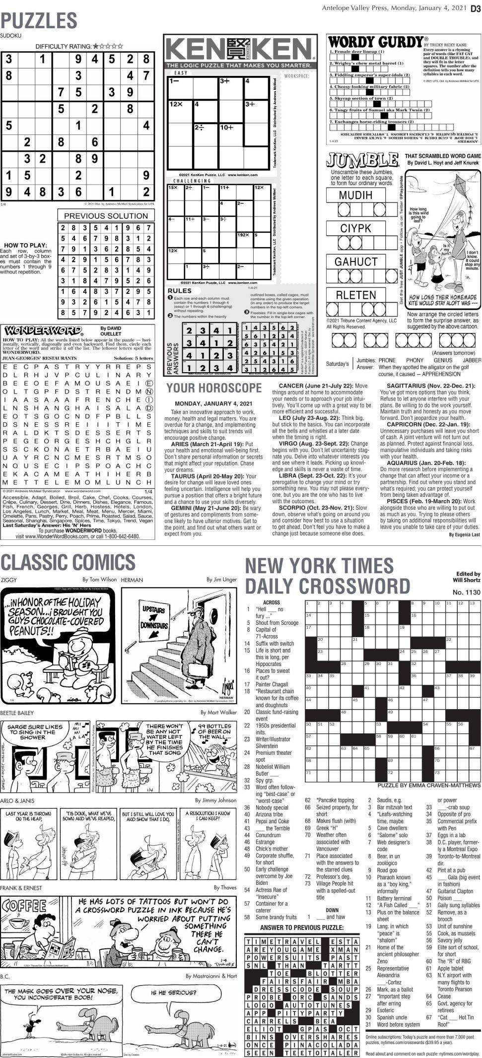 Puzzles, Jan. 4, 2021