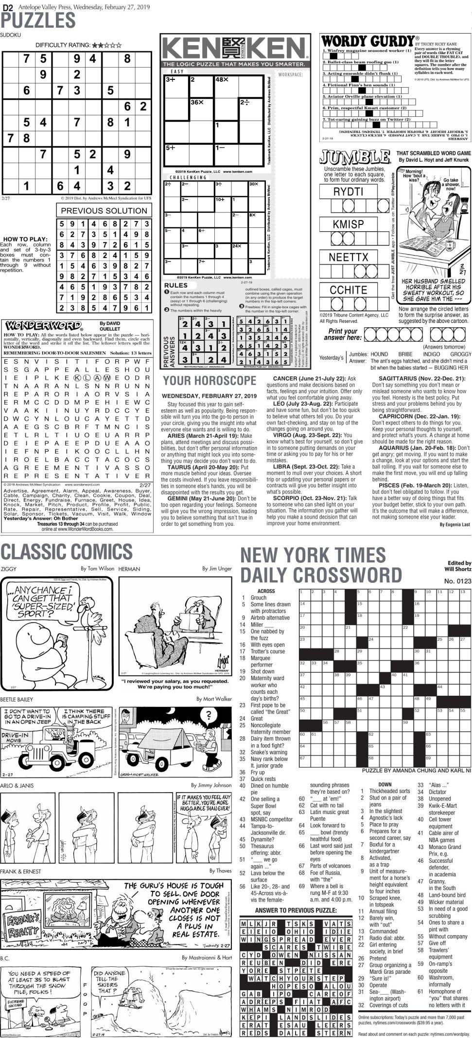 Feb. 27, 2019 Puzzles