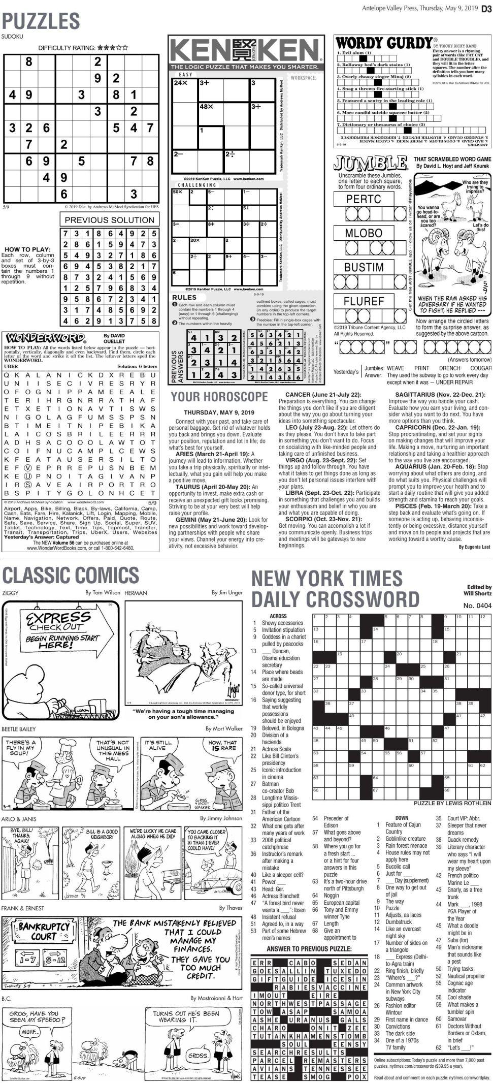 May 9, 2019 Puzzles