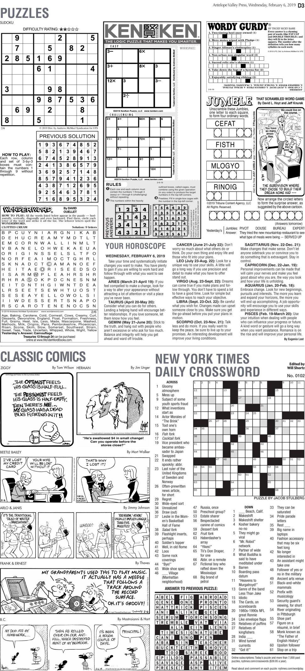 Feb. 6, 2019 Puzzles