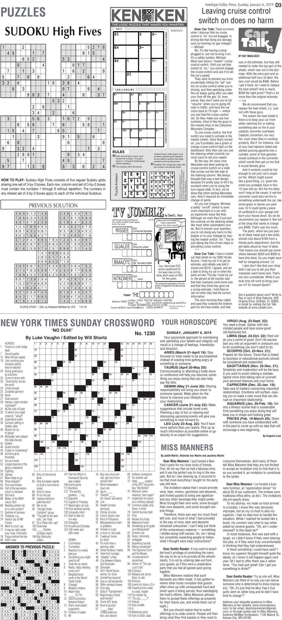 Jan. 6, 2019 Puzzles