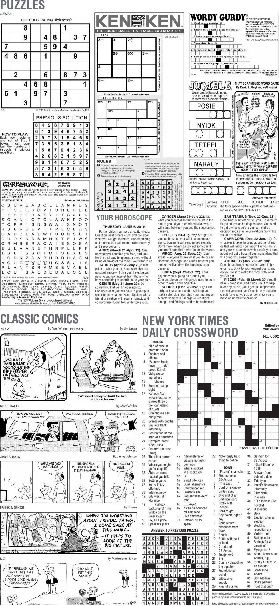 June 6, 2019 Puzzles