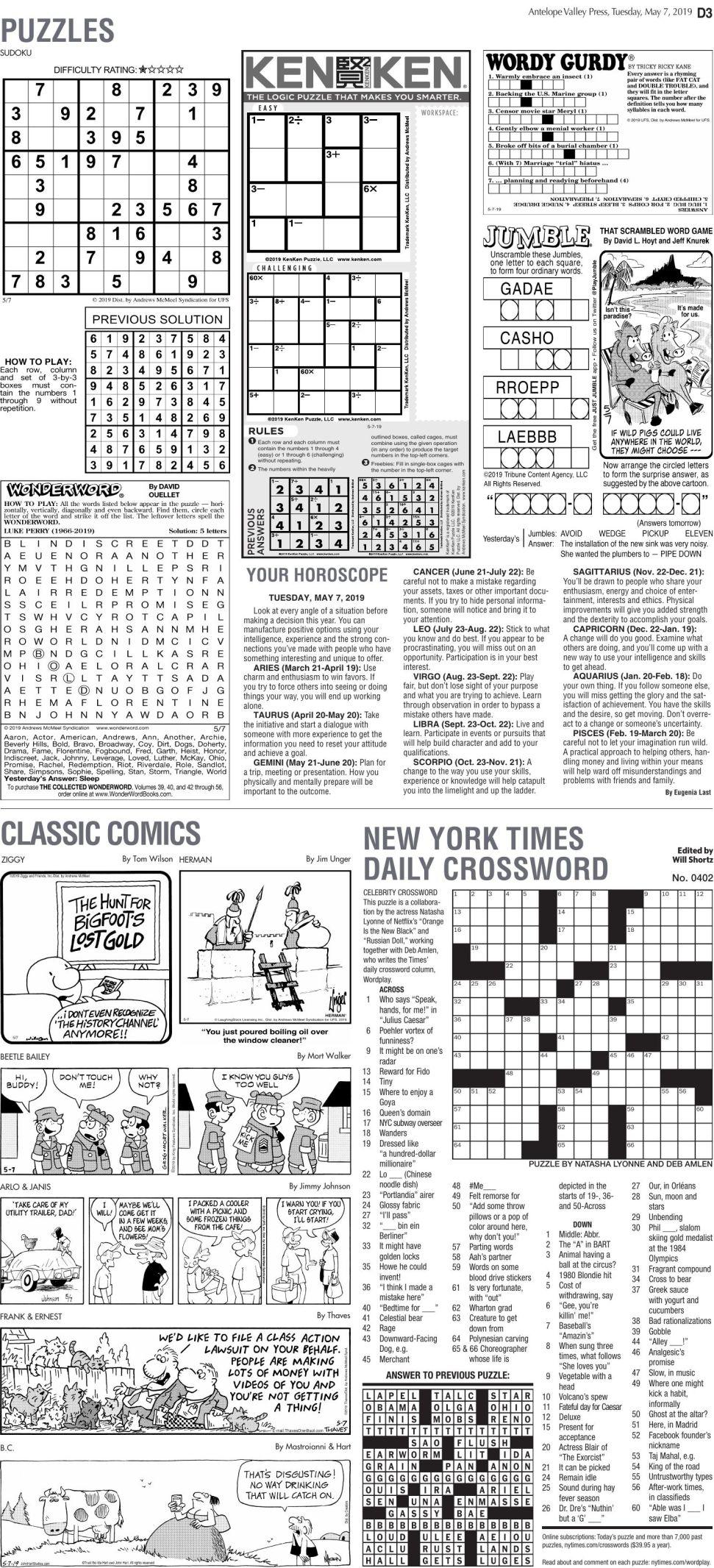 May 7, 2019 Puzzles