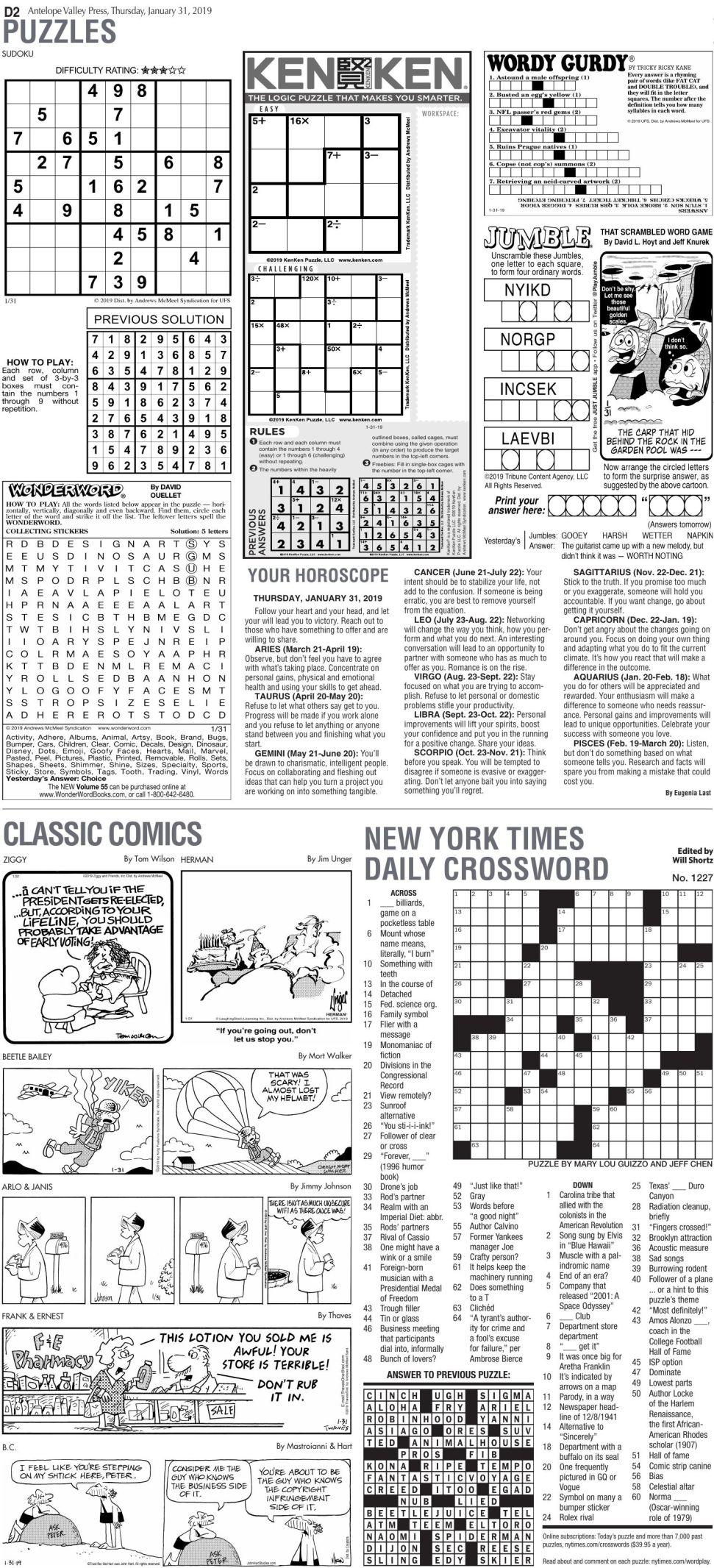 Jan. 31, 2019 Puzzles