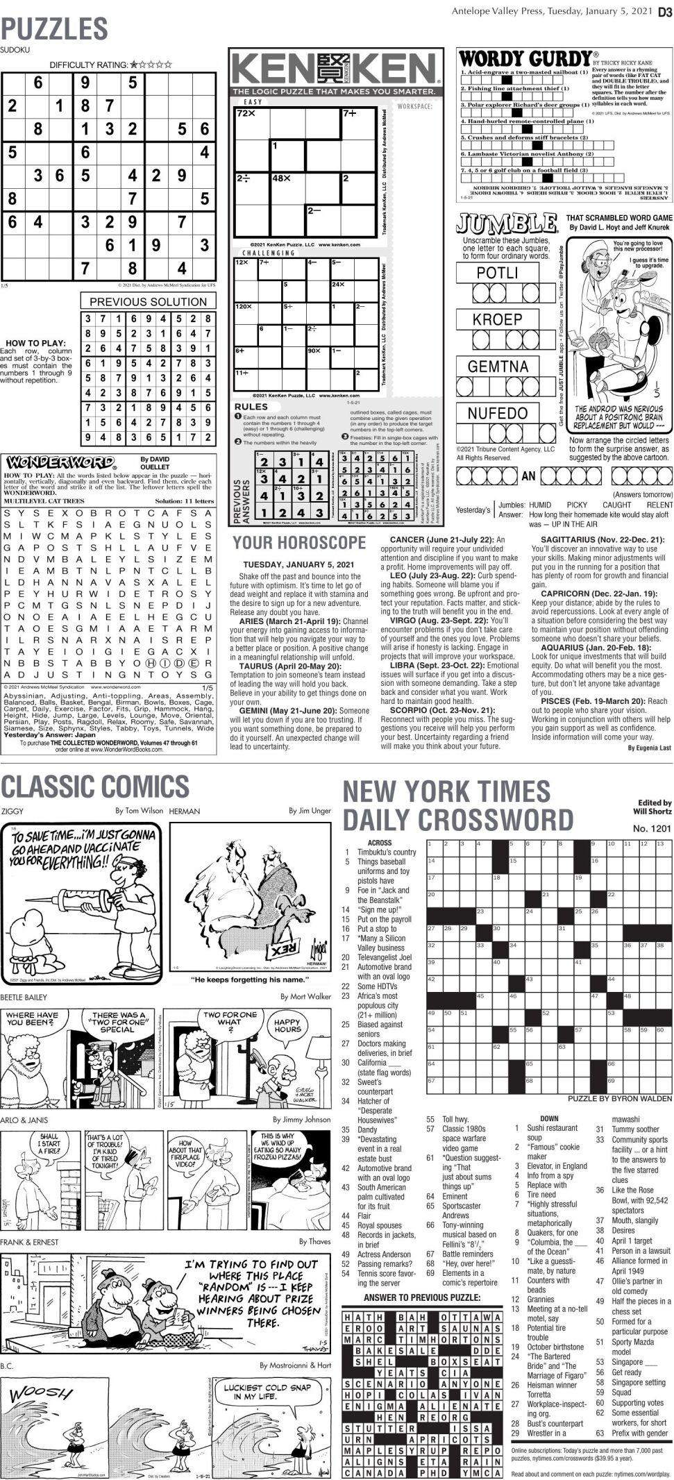Puzzles, Jan. 5, 2021