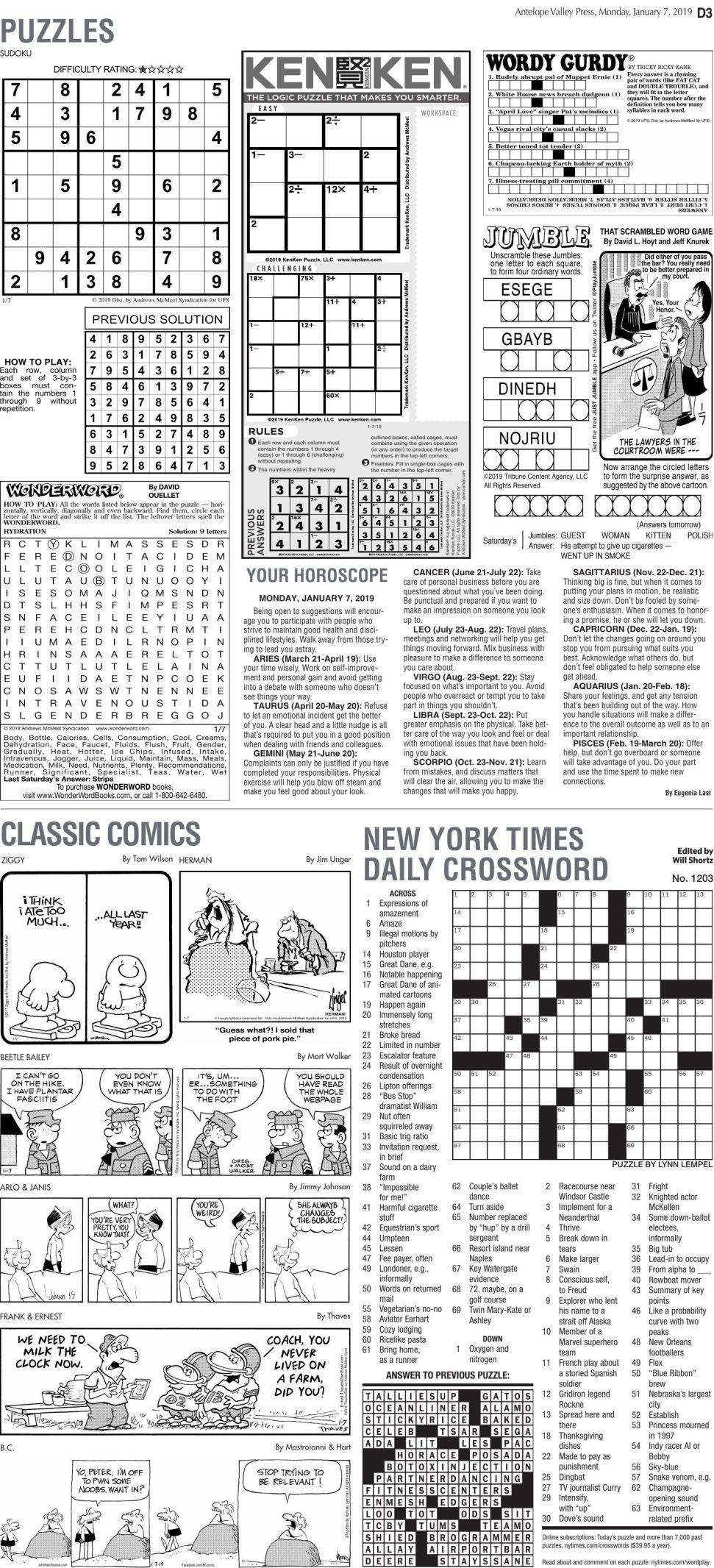 Jan. 7, 2019 Puzzles