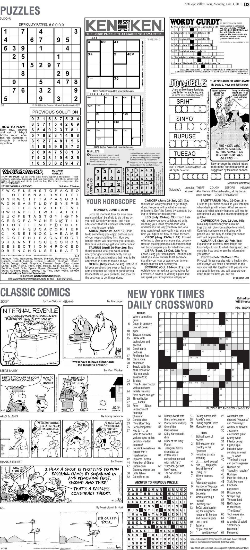 June 3, 2019, Puzzles