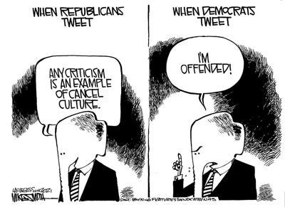 Editorial cartoon, Mach 1, 2021