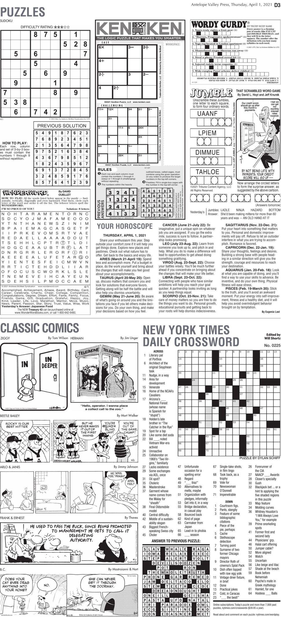 Puzzles, April 1, 2021