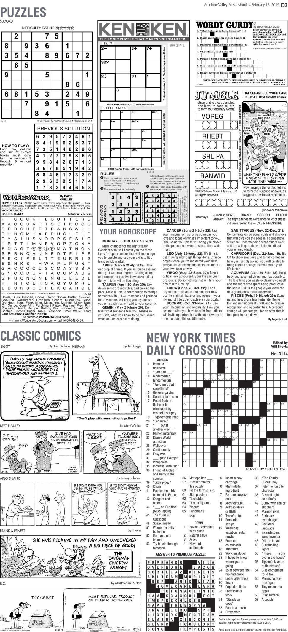 Feb. 18, 2019 Puzzles