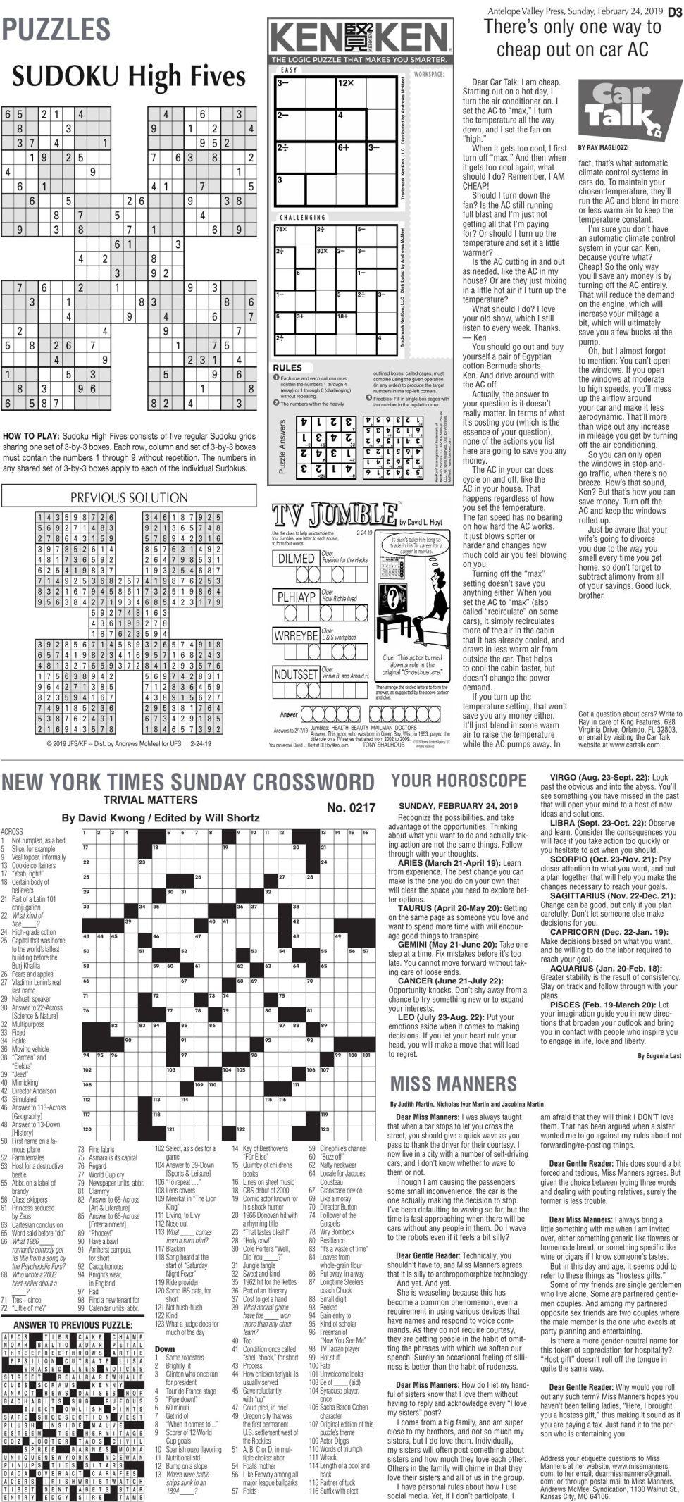 Feb. 24, 2019 Puzzles
