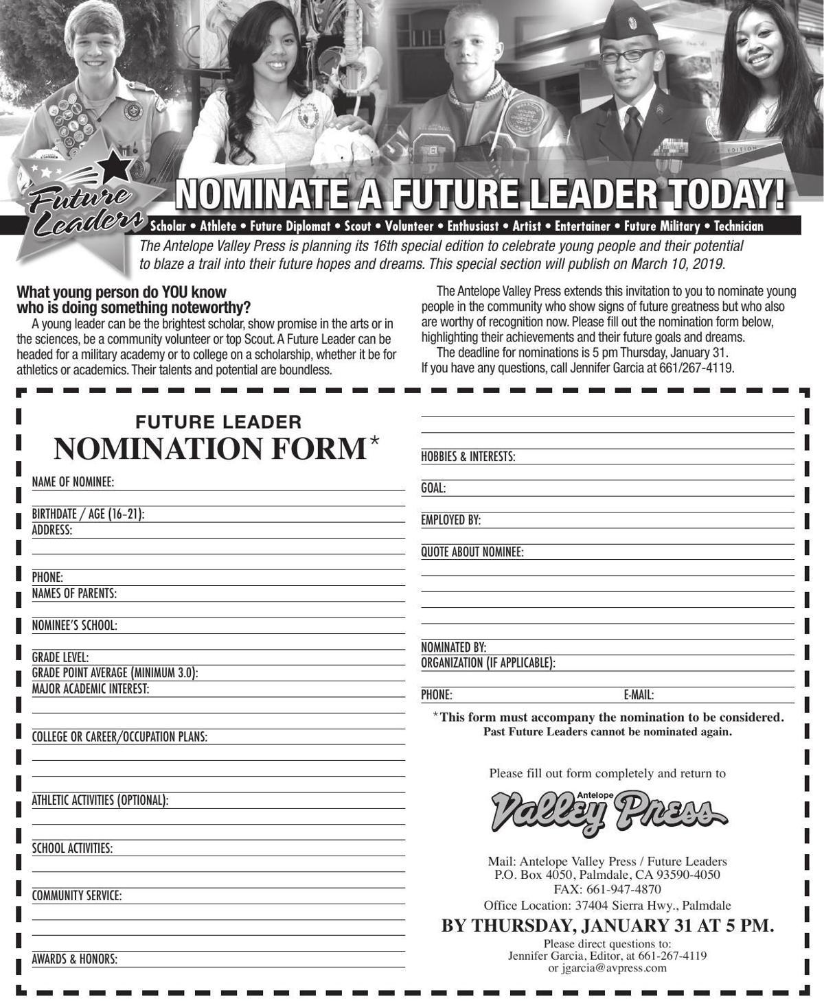 Future Leaders nomination form