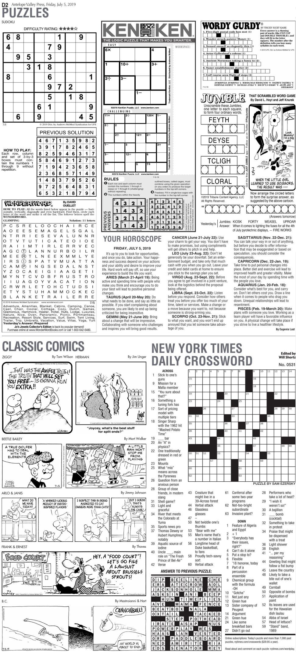 July 5, 2019, Puzzles