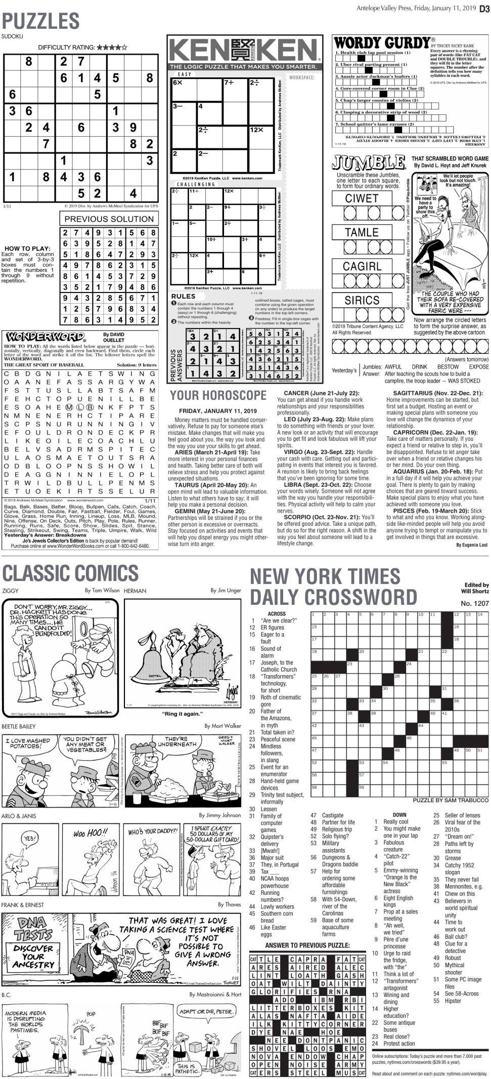 Jan. 11, 2019 Puzzles