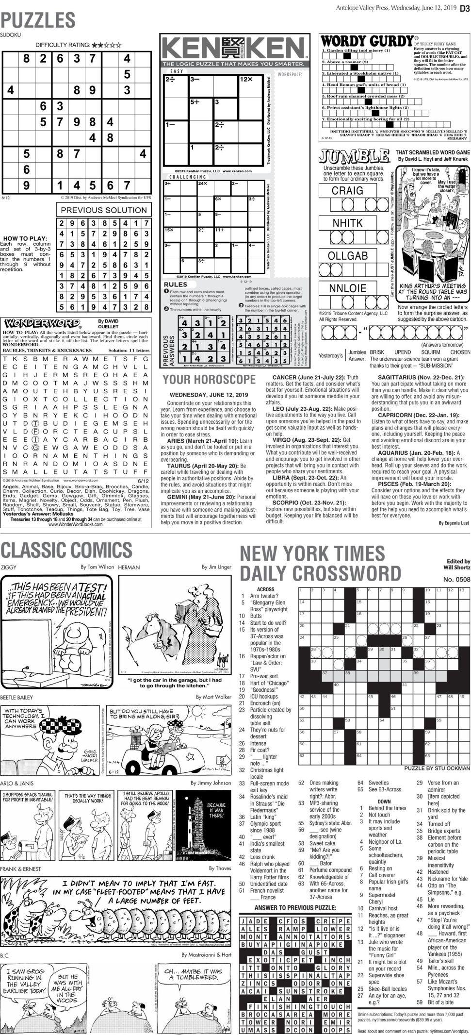June 12, 2019 Puzzles
