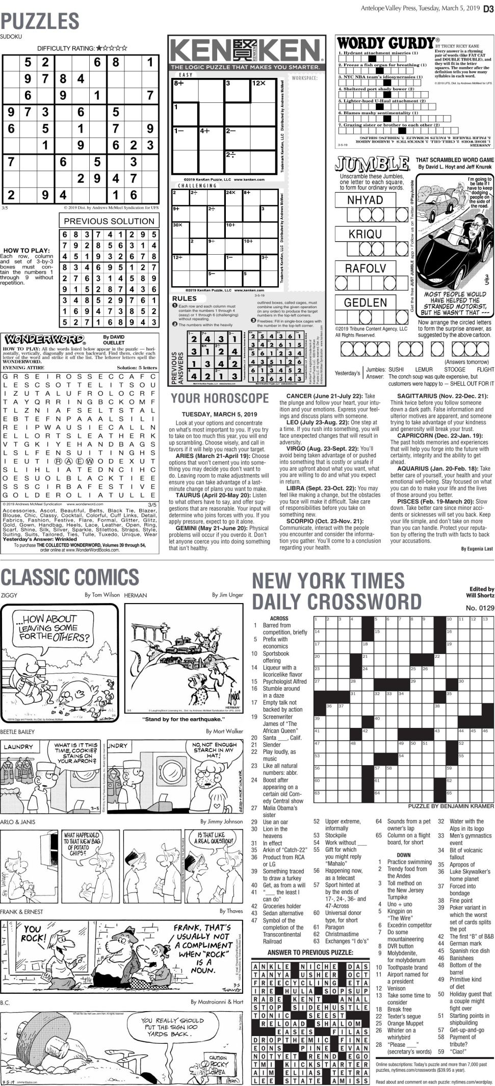 March 5, 2019 Puzzles