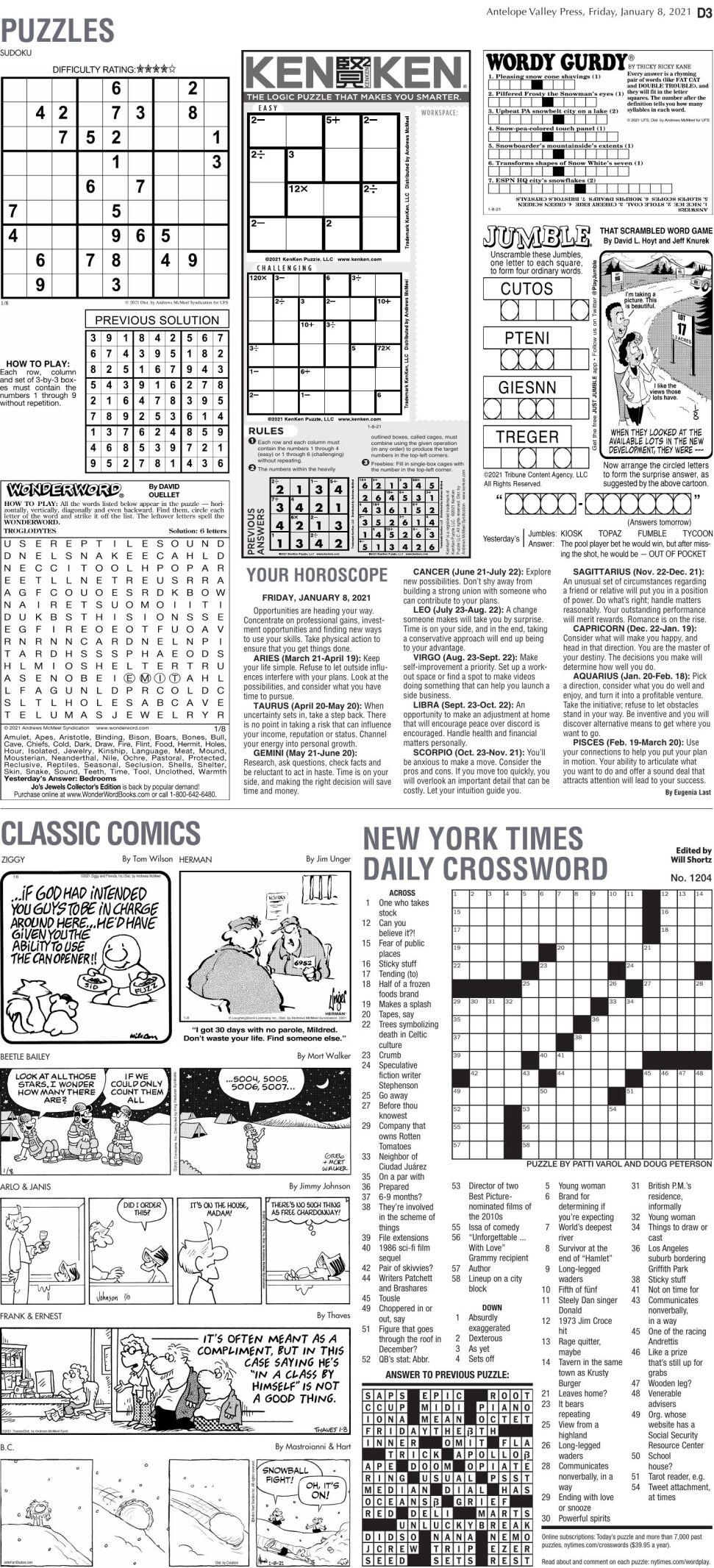Puzzles, Jan. 8, 2021
