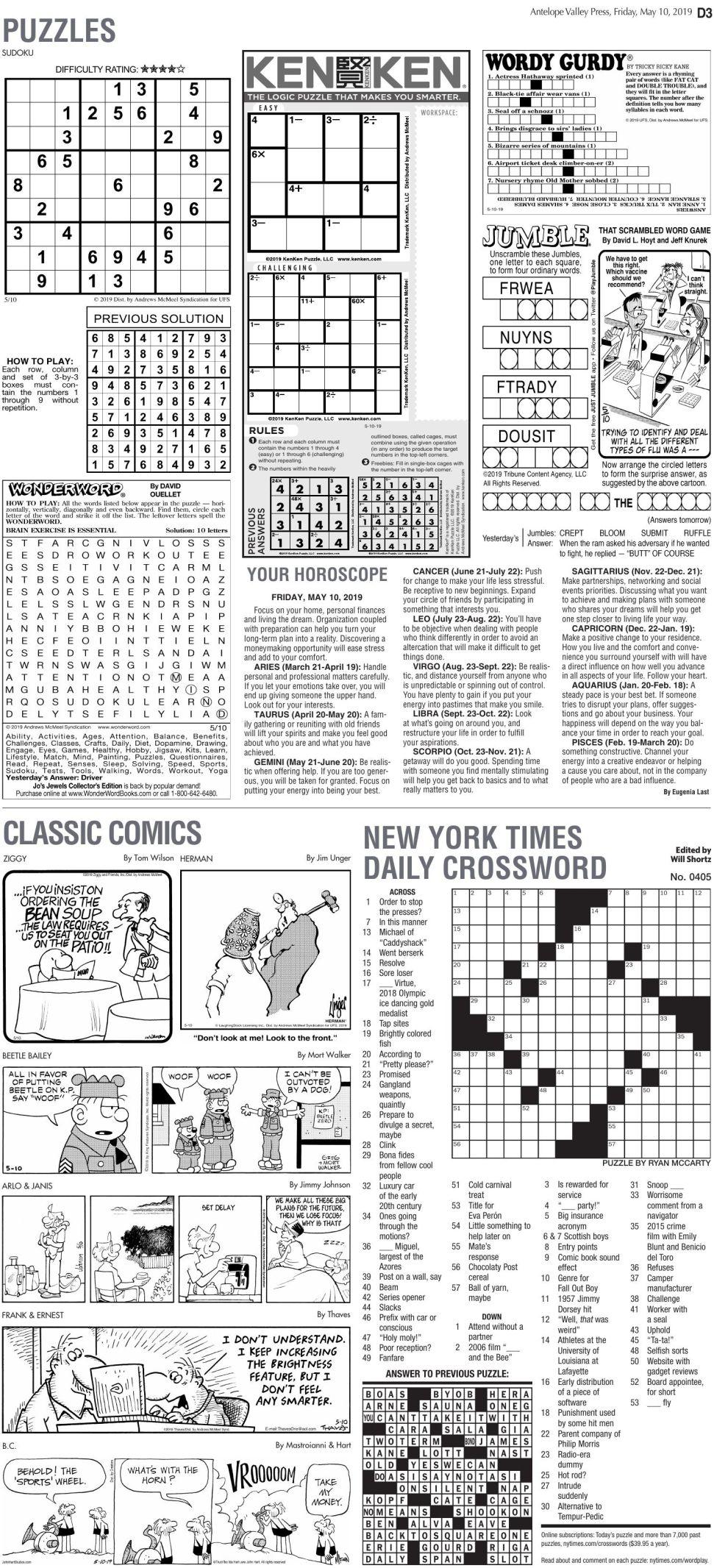 May 10, 2019 Puzzles