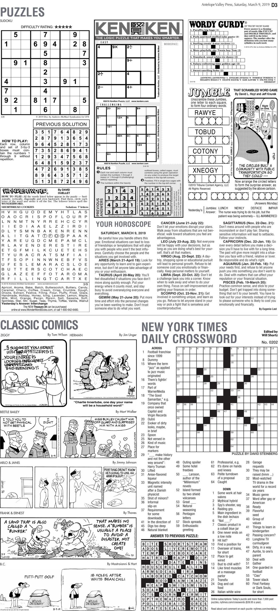 March 9, 2019 Puzzles